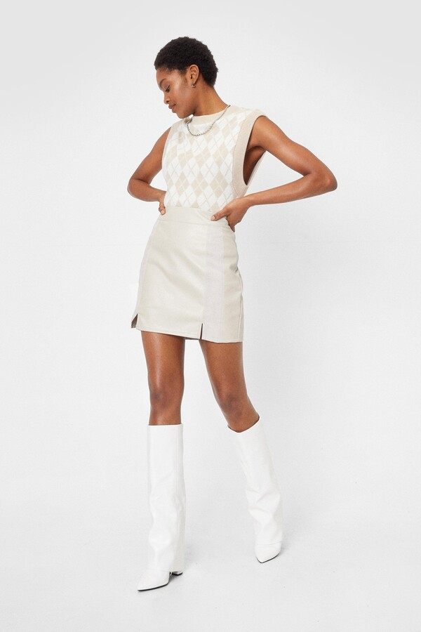 Thumbnail for your product : Nasty Gal Womens Faux Leather Slit High Waisted Mini Skirt - Beige - 10