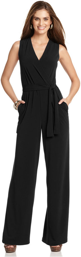 NY Collection Sleeveless Wide-Leg Jumpsuit