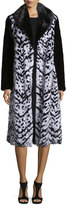 Oscar de la Renta Chevron Mink Long Coat, Black/White