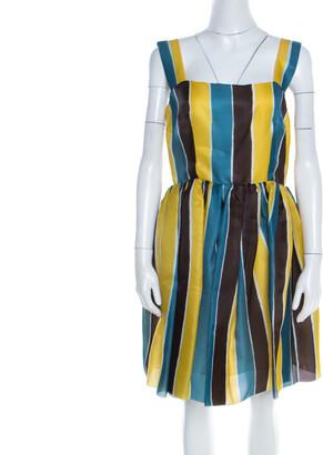 Dolce & Gabbana Multicolor Stripe Printed Silk Sleeveless Dress M