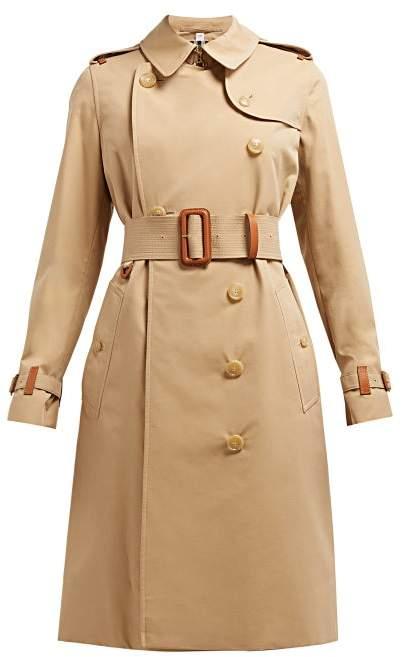 Burberry Leather Trim Cotton Gabardine Trench Coat - Womens - Beige