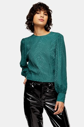 Topshop Womens Forest Green Jacquard Long Sleeve Blouse - Forest