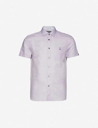 Ted Baker Short-sleeved cotton and linen-blend shirt