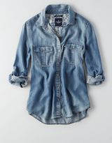 American Eagle AEO Double Pocket Chambray Shirt