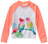 Gymboree Neon Orange Glow & White 3-D Accent Lovebird Rashguard - Girls