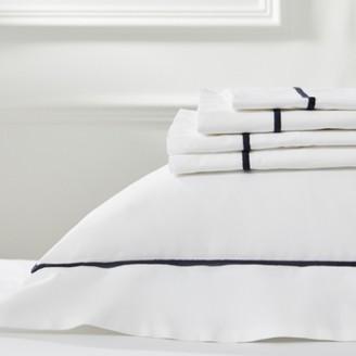 The White Company Savoy Flat Sheet, White Navy, Single
