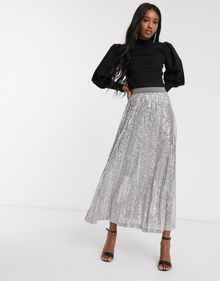 ASOS DESIGN sequin pleated maxi skirt in gray