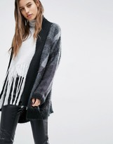 Religion Luxury Drapey Cardigan In Check Knit