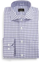 Neiman Marcus Classic-Fit Regular-Finish Square-Pattern Dress Shirt, Purple