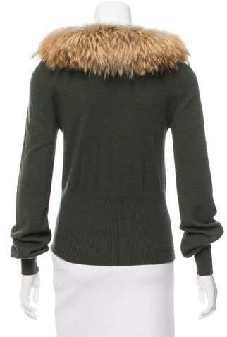 Cassin Fur-Trimmed Wool Sweater