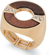 Thalia Sodi Gold-Tone Crystal & Wood Stretch Ring, Only at Macy's