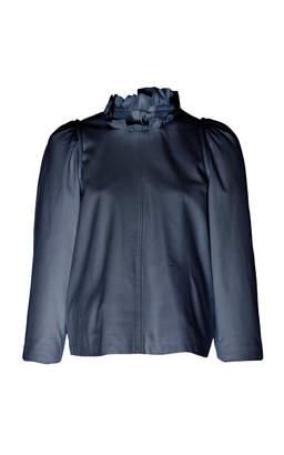 Sea Ruffled Leather Top