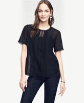 Ann Taylor Petite Lacy Pleated Tee