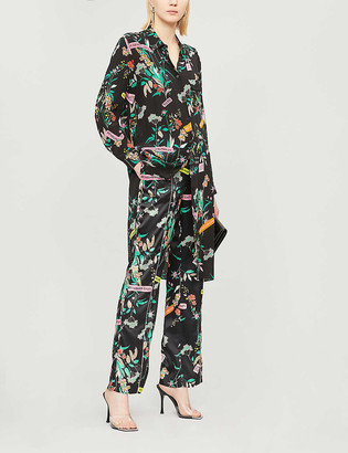 Pinko Alicia floral print silk shirt dress