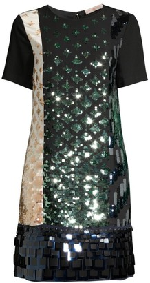 Tory Burch Colorblock Sequin Shift Dress