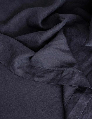 Lulu & Georgia Cultiver Linen Bedding, Navy Flat Sheet