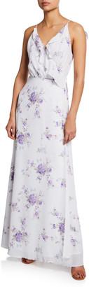 WAYF The Jamie Floral-Print Lace-Up Maxi Dress