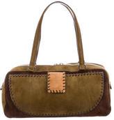 Salvatore Ferragamo Tricolor Patchwork Suede Shoulder Bag