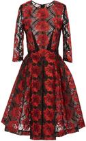 Zac Posen Poppy Embroidery Three Quarter Sleeve Dress