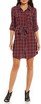 KUT from the Kloth Ella Plaid Print Shirt Dress with Roll-Tab Sleeves