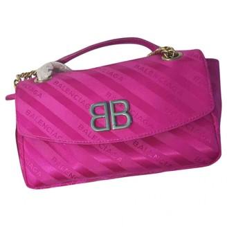 Balenciaga BB Round Pink Silk Handbags