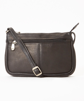 Le Donne Black Top-Zip Mini Leather Crossbody Bag