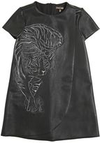 Roberto Cavalli Tiger Embroidered Faux Leather Dress
