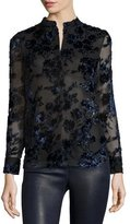 Alice + Olivia Belle Flocked-Floral Long-Sleeve Shirt, Multicolor
