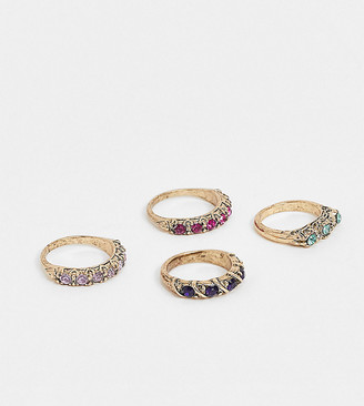 Reclaimed Vintage inspired ring pack with color crystal detail
