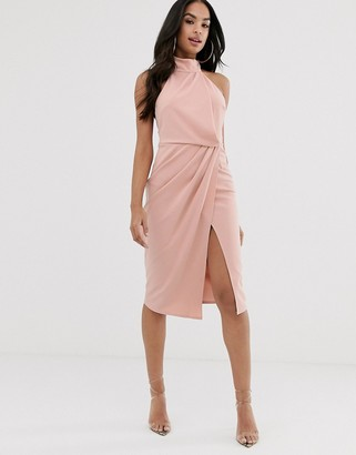 ASOS DESIGN halter drape pencil midi dress