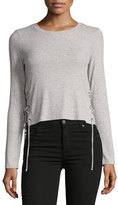 Splendid Lux Rib Long-Sleeve Lace-Up Top, Gray