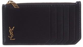 Saint Laurent Logo Plaque Zipped Leather Card Holder