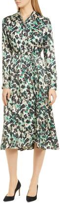 BOSS Daflora Floral Long Sleeve Shirtdress