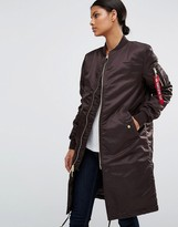 Alpha Industries Ma-1 Longline Bomber Coat With Gold Zip