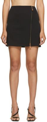 Versace Black Wool Zip Skirt