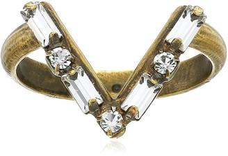 Sorrelli Lisa Oswald Collection V Shape Crystal Ring Size 8