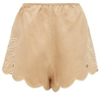 Innika Choo Cleo Direy Embroidered Scalloped-hem Linen Shorts - Beige