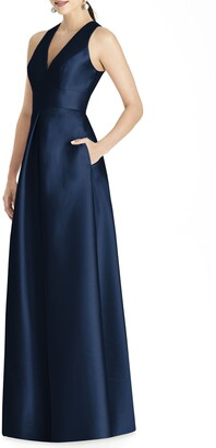 Alfred Sung Cutout Back Satin A-Line Gown
