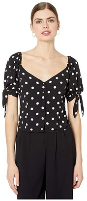 1 STATE 1.STATE Short Sleeve Vintage Dot Tie Sleeve Button Front Blouse (Rich Black) Women's Clothing