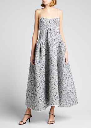 Cecilie Bahnsen Textured Metallic Sweetheart Bustier Gown