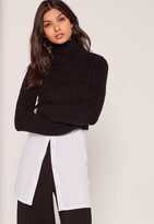 Missguided Black Turtleneck Fluffy Sweater
