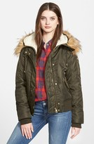 GUESS Women's Hooded Satin Bomber Jacket With Faux Fur Trim & Faux Shearling Lining