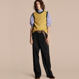 Burberry Sport Detail Wool Blend Vest, Yellow