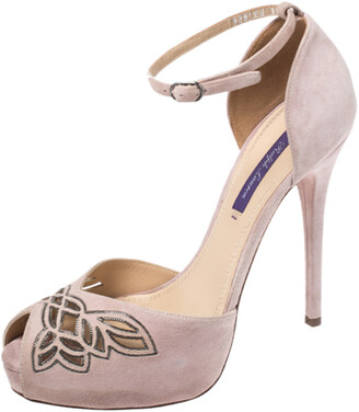 Ralph Lauren Light Pink Suede Leather Embellsihed Peep Toe Platform Ankle Strap Sandals Size 39