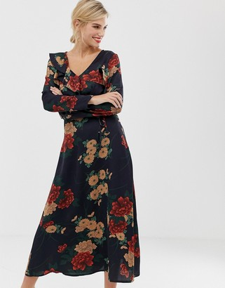 Liquorish floral midi dress with ruffle front and sleeve detail