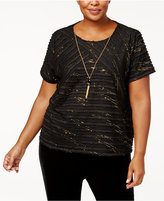 Alfred Dunner Plus Size Textured Necklace Top