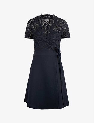 Claudie Pierlot Wrap-over lace and crepe mini dress