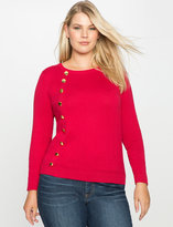 ELOQUII Plus Size Button Detail Sweater