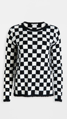 Autumn Cashmere Distressed Checkerboard Cashmere Crew Sweater