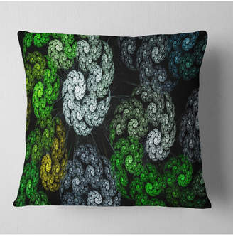 """Designart Bright Exotic Spiral Flowers Abstract Throw Pillow - 16"""" X 16"""""""
